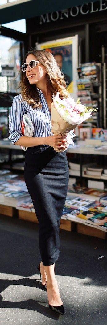 ideas de looks con falda para usar en oficina