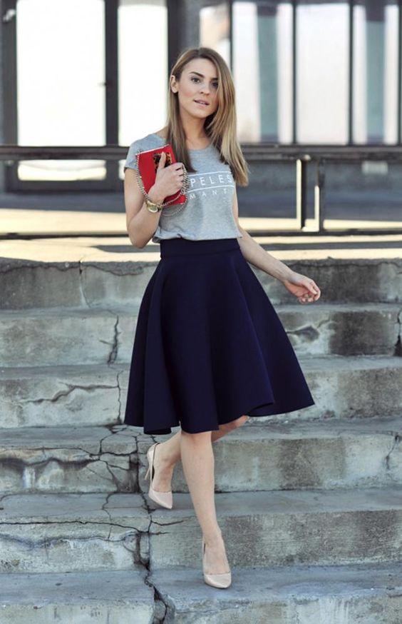 falda con campanara para la oficina