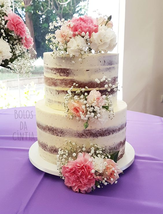pastel para 15 años naked cake