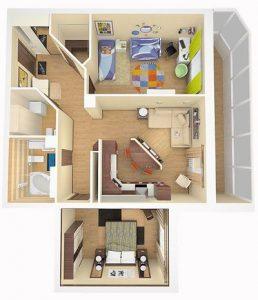 plano de casa pequeña de una planta