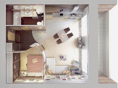 plano de casa pequeña moderna