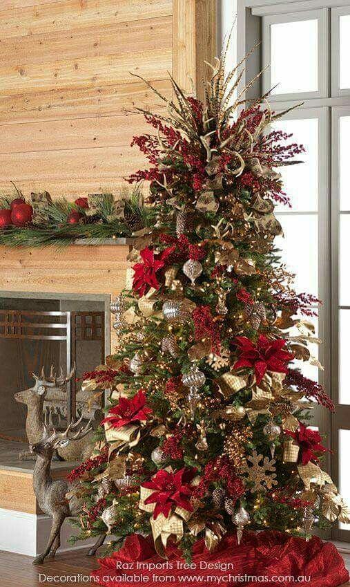 Rboles de navidad decorados en rojo y dorado tendencias 2018 - Imagenes de arboles de navidad decorados ...