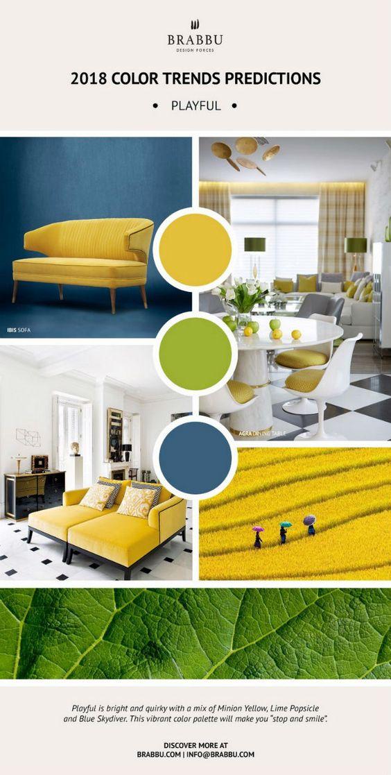 Colores de moda para interiores 2018