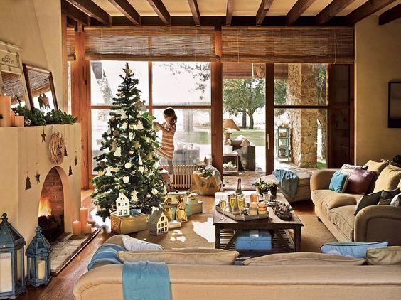 como decorar la sala en navidad para casa de campo