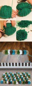 Como hacer un tapete de pompones PASO A PASO