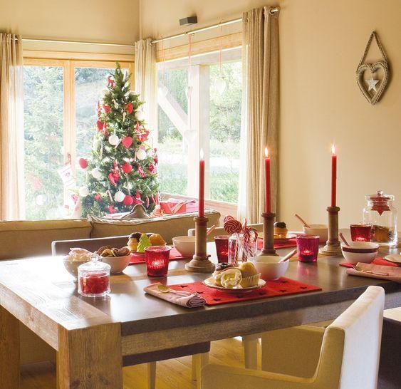decoracion navideña del comedor para casa de campo