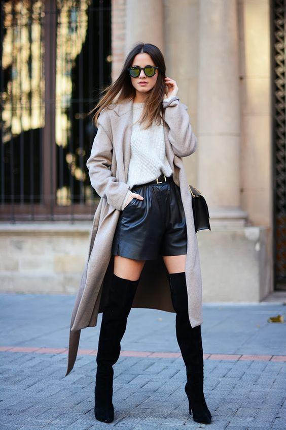 Outfits de botas largas con short