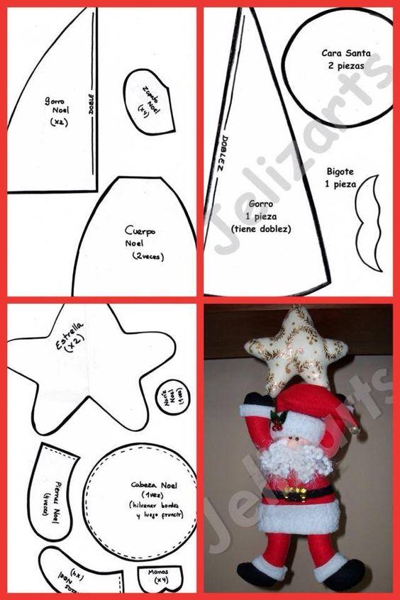 moldes de navidad para hacer figuras en fieltro