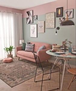 como pintar un living room de dos colores