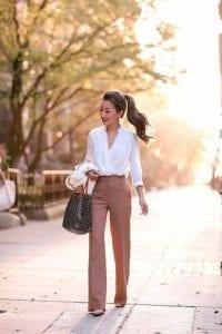 pantalones de vestir para la oficina campana ancha