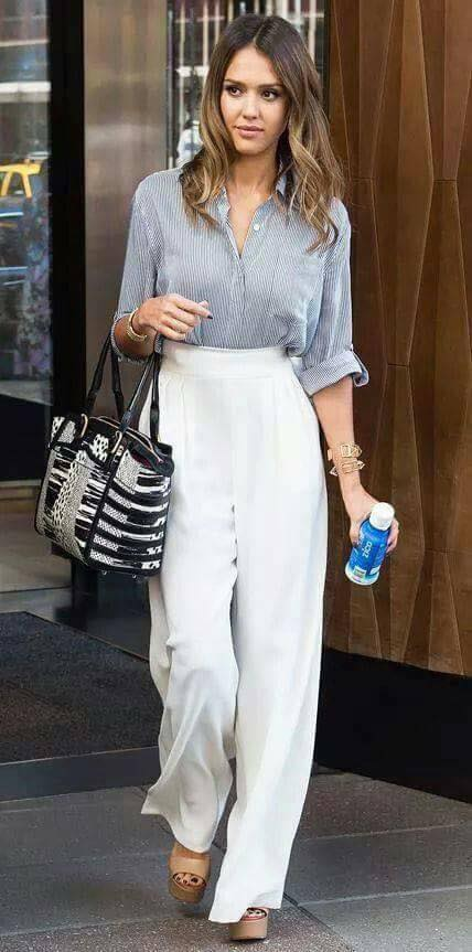 pantalones de vestir para la oficina color blanco para mujeres
