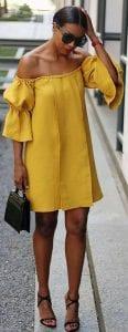 Outfis con un toque mostaza de mas de 30 con vestido