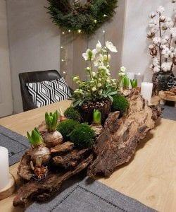Centros de mesa con troncos reciclados
