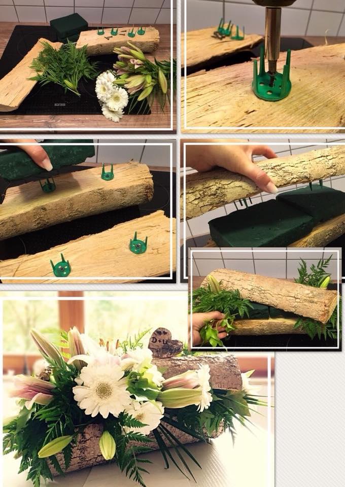 DIY centro de mesa con troncos de madera