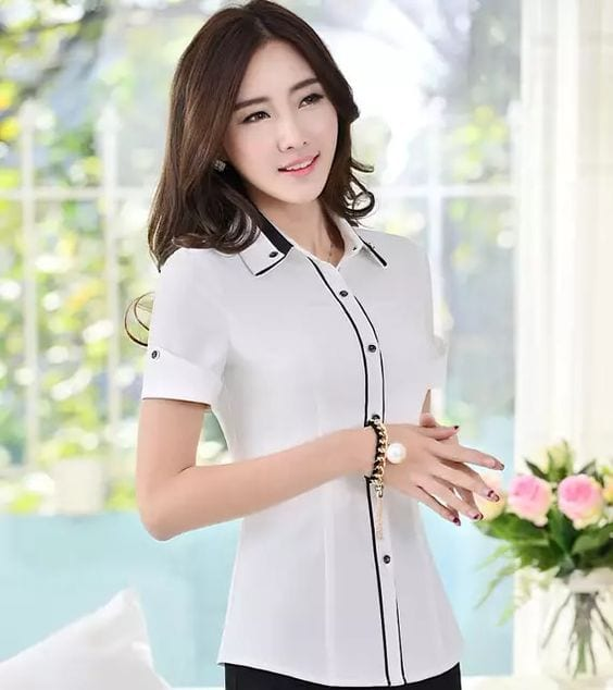 Diseños de blusas para oficina manga corta