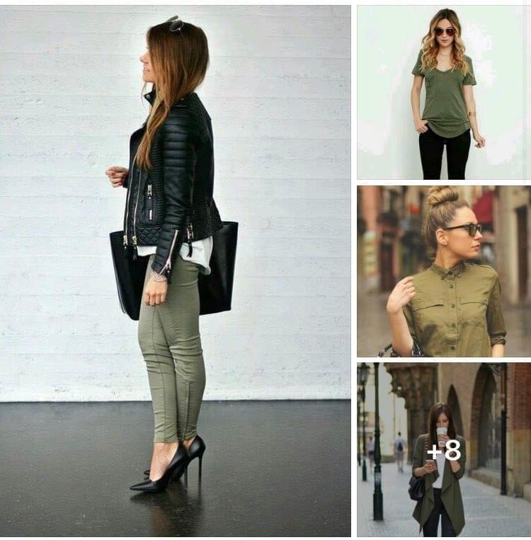 Cómo combinar looks con color verde militar si eres una mujer de 40 o más