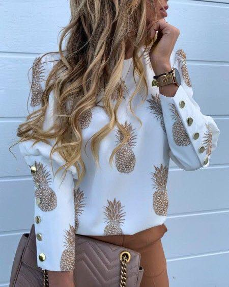 Diseños de piña para blusa elegante de mujeres maduras