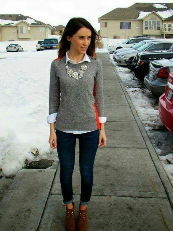 Look sencillo para outfit con suéter liso