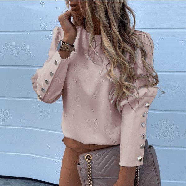 Mangas con botones para blusa de mujeres maduras