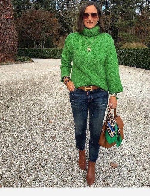 Maxi suéter de moda juvenil para señoras de 40 o más