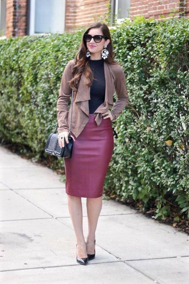 Outfit casual para mujeres maduras con falda tipo lápiz
