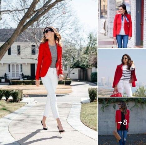Outfits con blazer rojo para mujeres de 40 años en adelante