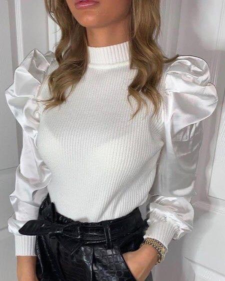 Satín para mangas en blusa blanca de moda