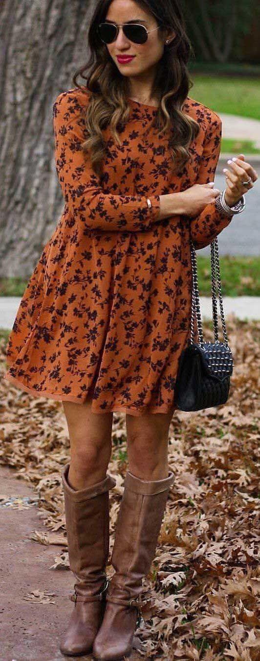 Vestido con estampados en color café para mujeres mayores