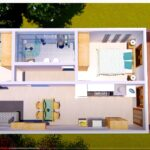 Casa 5 x 10 metros con 2 dormitorios 5x10 House Plans