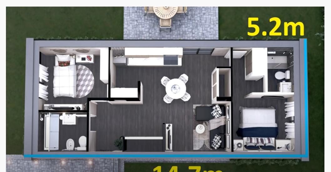 Casa pequeña de dos dormitorios 5x15 Metros