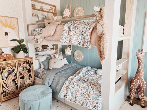 Habitaciones compartidas en colores pastel