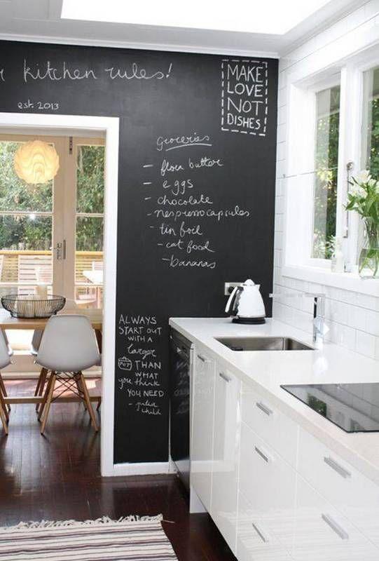 Listas de pendientes en la cocina con pizarra