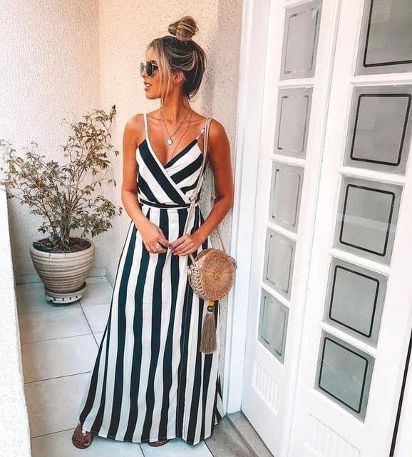 Looks con maxi vestidos a rayas