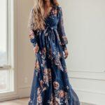 Maxi vestidos manga larga
