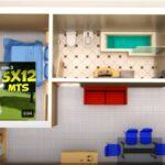 Plano de casa 5x12 metros 2 Dormitorios House 5x12