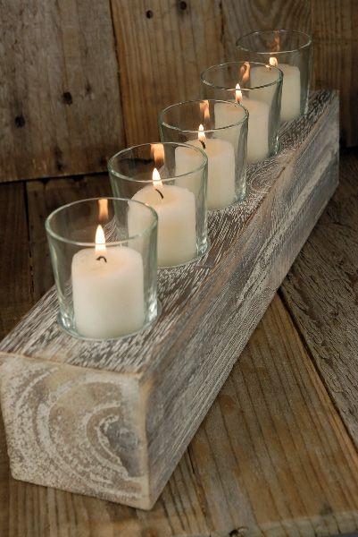 Porta velas hechas con madera