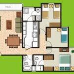 Plano de casa con tres dormitorios