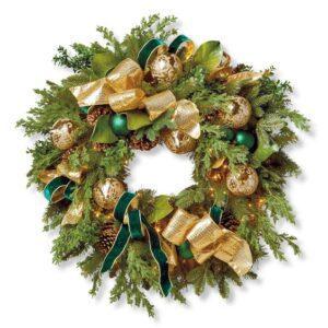 Coronas navideñas verde con dorado