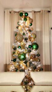 Esferas navideñas verde con dorado