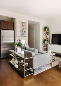 Salas de estar pequeñas con detalles de cristal