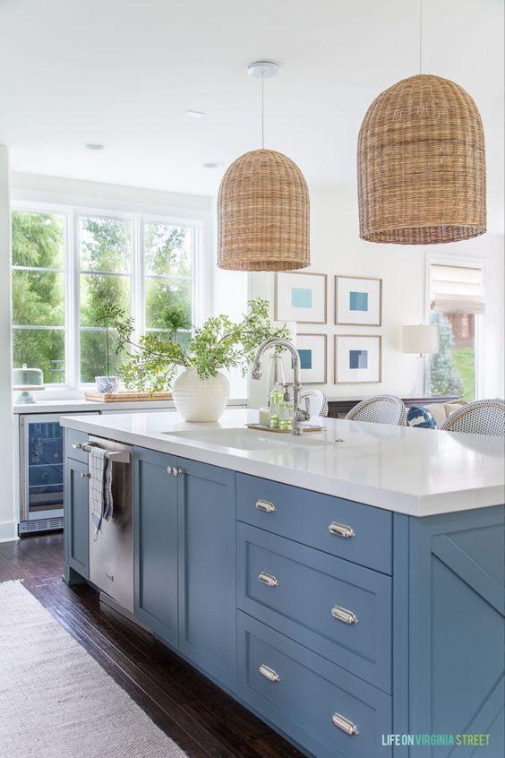 Como combinar gabinetes de cocina color azul