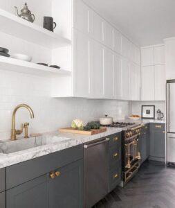 Ideas para combinar gabinetes de cocina color gris