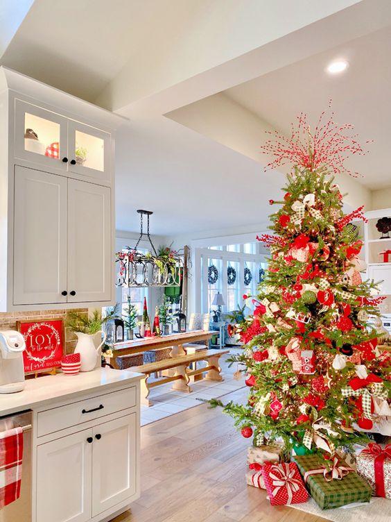 Decoración de navidad con estampado a cuadros